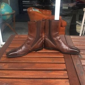 YSL YVES SAINT LAURENT MENS BROWN LEATHER BOOTS